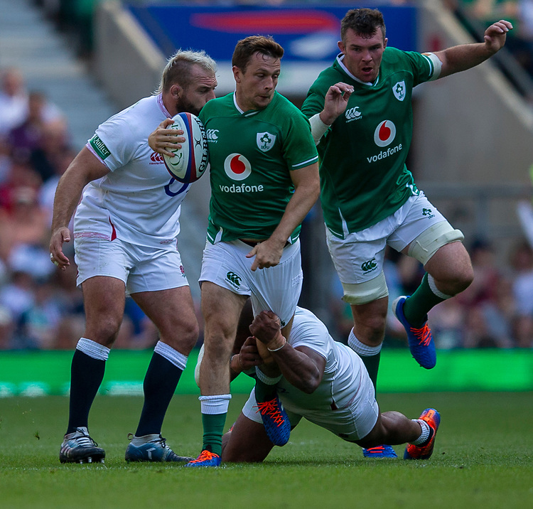 Ireland's Jack Carty in action during todays match<br /> <br /> Photographer Bob Bradford/CameraSport<br /> <br /> Quilter Internationals - England v Ireland - Saturday August 24th 2019 - Twickenham Stadium - London<br /> <br /> World Copyright © 2019 CameraSport. All rights reserved. 43 Linden Ave. Countesthorpe. Leicester. England. LE8 5PG - Tel: +44 (0) 116 277 4147 - admin@camerasport.com - www.camerasport.com