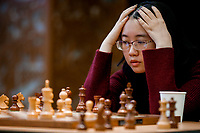 29th December 2019, Moscow, Russia;  Tan Zhongyi of China competes with Koneru Humpy of India in the final round of the 2019 King Salman World Chess Rapid Women Championship in Moscow, Russia
