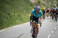 Fabio Aru (ITA/Astana) trying to break free from the (much reduced) peloton<br /> <br /> stage 7: Aoste &gt; Alpe d'Huez (168km)<br /> 69th Crit&eacute;rium du Dauphin&eacute; 2017
