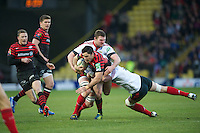 20121216 Copyright onEdition 2012©.Free for editorial use image, please credit: onEdition..Brad Barritt of Saracens is tackled during the Heineken Cup Round 4 match between Saracens and Munster Rugby at Vicarage Road on Sunday 16th December 2012 (Photo by Rob Munro)..For press contacts contact: Sam Feasey at brandRapport on M: +44 (0)7717 757114 E: SFeasey@brand-rapport.com..If you require a higher resolution image or you have any other onEdition photographic enquiries, please contact onEdition on 0845 900 2 900 or email info@onEdition.com.This image is copyright onEdition 2012©..This image has been supplied by onEdition and must be credited onEdition. The author is asserting his full Moral rights in relation to the publication of this image. Rights for onward transmission of any image or file is not granted or implied. Changing or deleting Copyright information is illegal as specified in the Copyright, Design and Patents Act 1988. If you are in any way unsure of your right to publish this image please contact onEdition on 0845 900 2 900 or email info@onEdition.com