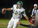 San Pedro, CA 11/27/15 - Tre Gonzales (Palos Verdes #46) and David Arredondo (Mira Costa #12) in action during the CIF Western Division semi-final game between Mira Costa and Palos Verdes.  Palos Verdes defeated Mira Costa to advance to the Western Division finals.
