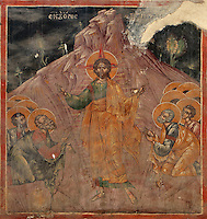 Fresco, possibly of Christ appearing to the apostles after the resurrection and showing them his wounds, 1578, by Nikolla Onufri, son of Onufri, in the 13th century Church of St Mary of Blachernae or Kisha e Shen Meri Vllahernes inside Berat Castle or Kalaja e Beratit, in Berat, South-Central Albania, capital of the District of Berat and the County of Berat. Picture by Manuel Cohen