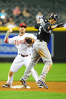 May 3, 2011; Phoenix, AZ, USA; Arizona Diamondbacks second baseman Ryan Roberts forces out Colorado Rockies base runner Carlos Gonzalez in the sixth inning at Chase Field. Mandatory Credit: Mark J. Rebilas-