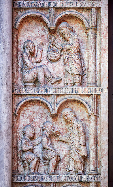door pillaster relief sculptures on the Romanesque Baptistery of Parma, circa 1196, (Battistero di Parma), Italy