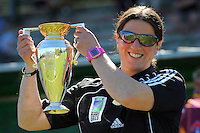 Eketahuna's Black Ferns first five Rebecca Mahoney with the Women's World Cup. Heartland Championship rugby - Wairarapa Bush v North Otago at Trust House Memorial Park, Masterton, New Zealand on Saturday, 25 September 2010. Photo: Dave Lintott /  lintottphoto.co.nz
