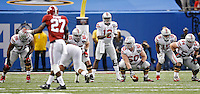 Ohio State Buckeyes offensive lineman Darryl Baldwin (76), Ohio State Buckeyes offensive lineman Pat Elflein (65), Ohio State Buckeyes offensive lineman Jacoby Boren (50) and Ohio State Buckeyes offensive lineman Billy Price (54) against Alabama Crimson Tide in the Allstate Sugar Bowl college football Playoff Semifinal game against Alabama Crimson Tide at the Mercedes-Benz Superdome in New Orleans, Louisiana on January 1, 2015.  (Dispatch photo by Kyle Robertson)