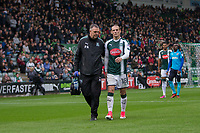 Oscar Threlkeld of Plymouth Argyle leaves the field after receiving treatment during the Sky Bet League 1 match between Plymouth Argyle and Fleetwood Town at Home Park, Plymouth, England on 7 October 2017. Photo by Mark  Hawkins / PRiME Media Images.