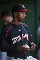 Kannapolis Intimidators pitcher Yency Almonte (17) watches the action from the dugout during the game against the Greensboro Grasshoppers at CMC-Northeast Stadium on June 11, 2015 in Kannapolis, North Carolina.  The Intimidators defeated the Grasshoppers 7-6.  (Brian Westerholt/Four Seam Images)