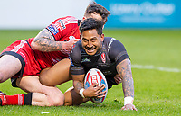 Picture by Allan McKenzie/SWpix.com - 26/04/2018 - Rugby League - Betfred Super League - Salford Red Devils v St Helens - AJ Bell Stadium, Salford, England - Salford's Jake Bibby is unable to prevent St Helens's Ben Barba scoring a try.