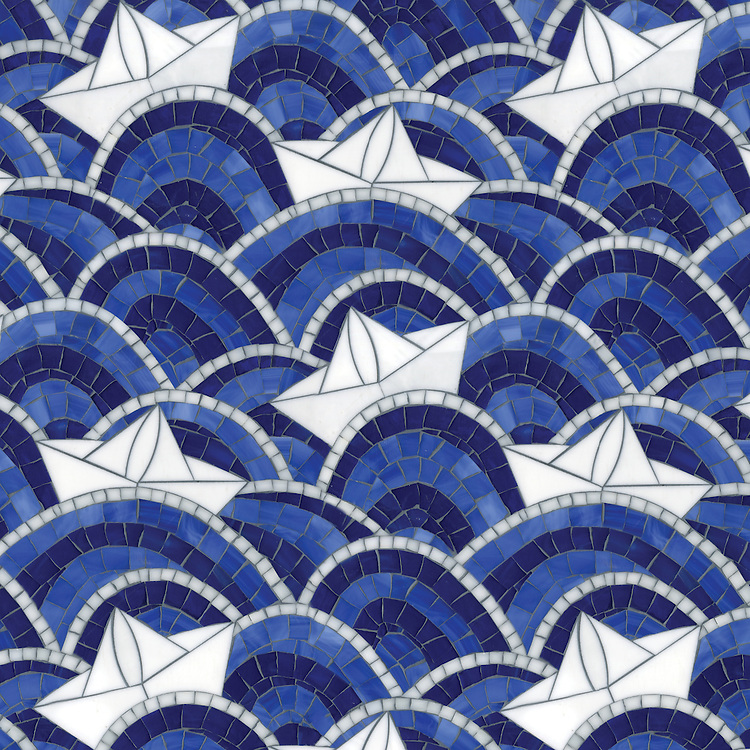 Fleet, a hand-cut and waterjet mosaic, shown in Lapis Lazuli, Iolite, Absolute White, and Moonstone jewel glass.