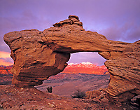 Arch framing La Sal Mountains, Proposed Behind-the-Rocks Wilderness, Utah   Spanish Valley   Tukunukavista Arch