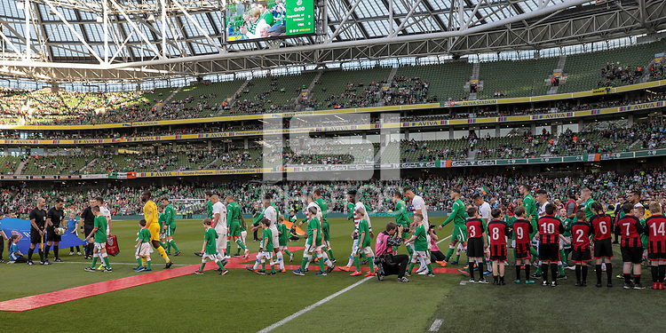 Dublin, Ireland - Saturday June 02, 2018: USMNT walk out during an international friendly match between the men's national teams of the United States (USA) and Republic of Ireland (IRE) at Aviva Stadium.