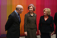 Spain's queen Sofia, c, Education Minister Ignacio Wert and owner of art collection Patricia Phelps de Cisneros  opens a new exposition at Reina Sofia Museum. January 22, 2013. (ALTERPHOTOS/Alvaro Hernandez) /NortePhoto