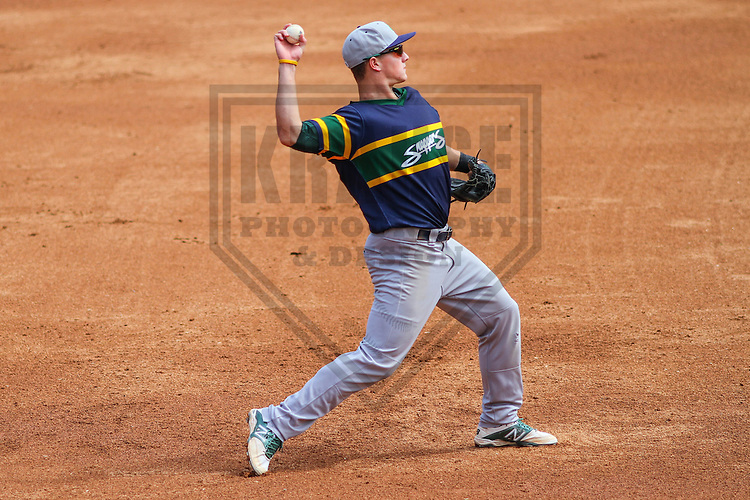 APPLETON - August 2014: Matt Chapman (7) of the Beloit Snappers during a game against the Wisconsin Timber Rattlers on August 26th, 2014 at Fox Cities Stadium in Appleton, Wisconsin.  (Photo Credit: Brad Krause)