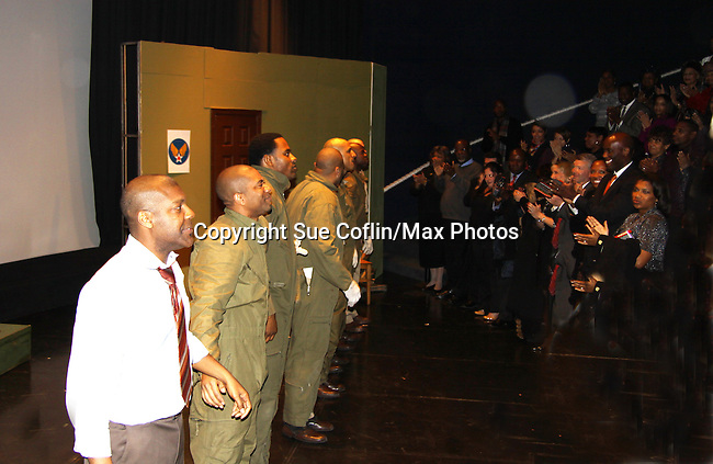 Lamman Rucker & Black Angels cast curtain call - Layon Gray's Black Angels Over Tuskegee was performed on February 25, 2011 at the United States Memorial in Washington, DC to celebrate Black History Month. (Photo by Sue Coflin/Max Photos)