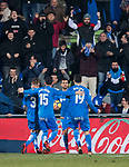 Angel Luis Rodriguez Diaz of Getafe CF (R2) celebrates after scoring his goal with his teammates during the La Liga 2017-18 match between Getafe CF and Athletic Club at Coliseum Alfonso Perez on 19 January 2018 in Madrid, Spain. Photo by Diego Gonzalez / Power Sport Images