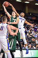 Baltimore, MD - William & Mary Tribe guard Omar Prewitt (4) has his shot blocked from behind by Hofstra Pride guard Juan'ya Green (1) during the CAA Basketball Tournament at the Royal Farms Arena in Baltimore, Maryland on March 6, 2016.  (Photo by Philip Peters/Media Images International)