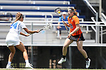 16 May 2015: Princeton's Abby Finkelston (18) and Duke's Katie Trees (24). The Duke University Blue Devils hosted the Princeton University Tigers at Koskinen Stadium in Durham, North Carolina in a 2015 NCAA Division I Women's Lacrosse Tournament quarterfinal match. Duke won the game 7-3.