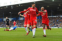 Conor Wilkinson of Gillingham (m) celebrates scoring Gillingham 's first goal with Josh Parker  (r) during Portsmouth vs Gillingham, Sky Bet EFL League 1 Football at Fratton Park on 10th March 2018