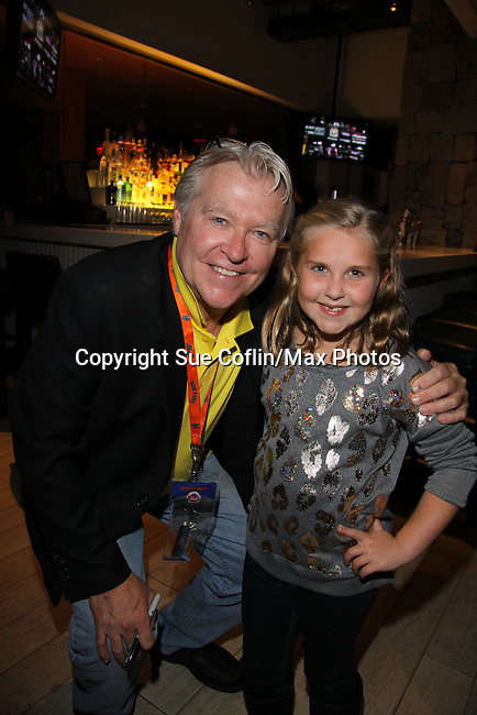 """Stephanie Schmal """"Bree"""" poses with One Life To Live and Guiding Light Jerry verDorn hosts the 10th Annual Daytime Stars and Strikes Charity Event to benefit the American Cancer Society on October 13, 2013 at Bowlmor Lanes, New York City, New York.  (Photo by Sue Coflin/Max Photos)"""
