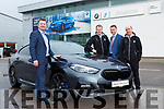 Paul Ahern launched the new BMW 2 Series Gran Coupe in Aherns BMW Castleisland on Wednesday with l-r: Padraig Brick, Gordon Lunn and John Cronin