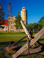 Cheboygan County, MI<br /> Large ship anchors and Old mackinac Point Lighthouse (1892)