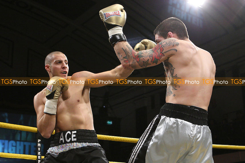Andreas Evangelou defeats Matt Imber to win the Prizefighter Prospect Light-Heavyweight Boxing contest at York Hall, Bethnal Green promoted by Matchroom Sports - 29/10/11 - MANDATORY CREDIT: Gavin Ellis/TGSPHOTO - Self billing applies where appropriate - 0845 094 6026 - contact@tgsphoto.co.uk - NO UNPAID USE..