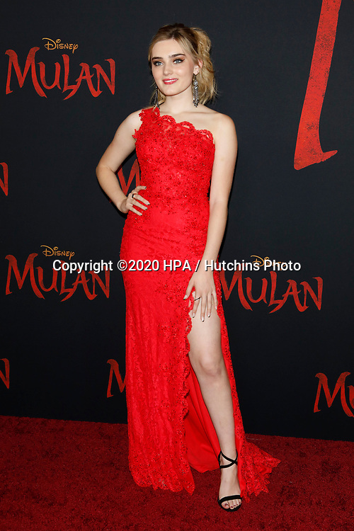 """LOS ANGELES - MAR 9:  Meg Donnelly at the """"Mulan"""" Premiere at the Dolby Theater on March 9, 2020 in Los Angeles, CA"""