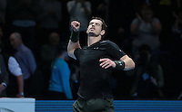 Andy Murray (GBR)(1) in action against Milos Raonic (CAN)(4)in their Semi-Final match during Day Seven of the Barclays ATP World Tour Finals 2016 played at The O2 Arena, London on November 19th  2016