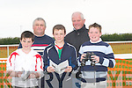 MARKING: Marking their cards at the North Kerry Harriers Point to Point Racing at Ballybunion on Sunday. Front l-r: Padraig O'Callaghan, Sean O'Callaghan and Donal Hannon. Back l-r: Pat O'Callaghan and Gerard Hannon (Ballybunion)..