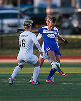 In a National Women's Soccer League Elite (NWSL) match, the Boston Breakers and  Washington Spirit drew 1-1, at the Dilboy Stadium on April 14, 2012.  Boston Breakers forward Lianne Sanderson (10) breaks free of Washington Spirit midfielder Lori Lindsey (6) and Washington Spirit midfielder Julia Roberts (13).