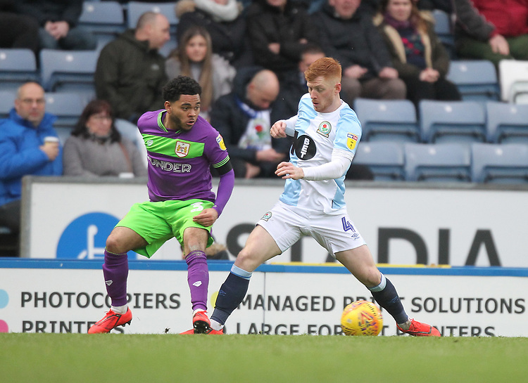 Blackburn Rovers Harrison Reed in action with Bristol City's Jay Dasilva<br /> <br /> Photographer Mick Walker/CameraSport<br /> <br /> The EFL Sky Bet Championship - Blackburn Rovers v Bristol City - Saturday 9th February 2019 - Ewood Park - Blackburn<br /> <br /> World Copyright © 2019 CameraSport. All rights reserved. 43 Linden Ave. Countesthorpe. Leicester. England. LE8 5PG - Tel: +44 (0) 116 277 4147 - admin@camerasport.com - www.camerasport.com