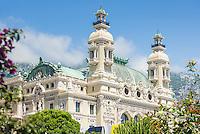Principality of Monaco, on the French Riviera (Côte d'Azur), district Monte Carlo: Opéra de Monte-Carlo with the Casino Monte-Carlo | Fuerstentum Monaco, an der Côte d'Azur, Stadtteil Monte Carlo: Opéra de Monte-Carlo mit dem Casino Monte-Carlo