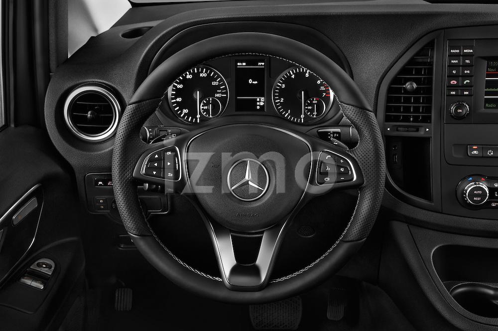Car pictures of steering wheel view of a 2018 Mercedes Benz Metris Passenger-Van 5 Door Passenger Van Steering Wheel