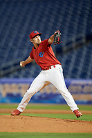 Clearwater Threshers relief pitcher Blake Quinn (55) delivers a pitch during a game against the Dunedin Blue Jays on April 6, 2018 at Spectrum Field in Clearwater, Florida.  Clearwater defeated Dunedin 8-0.  (Mike Janes/Four Seam Images)
