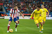 Atletico de Madrid´s Juanfran and Villarreal´s Jaume Costa and Denis Cheryshev during 2014-15 La Liga match between Atletico de Madrid and Villarreal at Vicente Calderon stadium in Madrid, Spain. December 14, 2014. (ALTERPHOTOS/Luis Fernandez) /NortePhoto