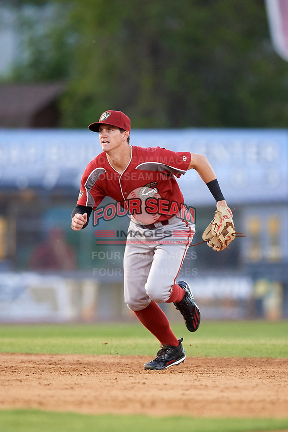 Altoona Curve shortstop Kevin Newman (2) fields a ground ball during a game against the Binghamton Rumble Ponies on May 17, 2017 at NYSEG Stadium in Binghamton, New York.  Altoona defeated Binghamton 8-6.  (Mike Janes/Four Seam Images)