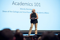 Academic Programs Overview in Thorne Hall for incoming first-years at the start of Occidental College's Fall Orientation for the class of 2021, Aug. 26, 2017. The students  listened to Dean of the College, Wendy Sternberg, and learned about the Core program and other opportunities available to them.<br /> (Photo by Marc Campos, Occidental College Photographer)