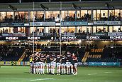 29th September 2017, Sixways Stadium, Worcester, England; Aviva Premiership Rugby, Worcester Warriors versus Saracens; Saracens team huddle before the match