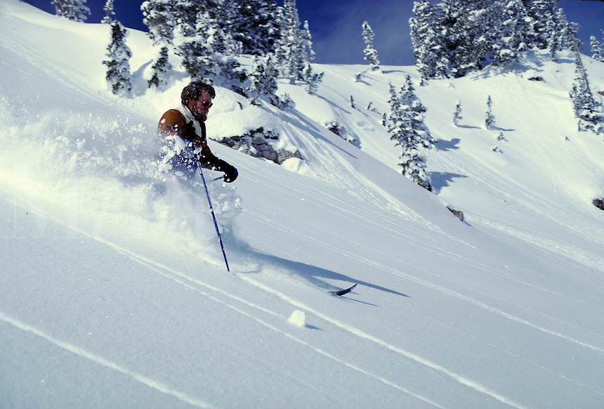 Male snow skier cuts through deep, uncut powder on an open slope. sports, skiing. Utah, Alta Ski Resort.