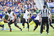 Newark, DE - OCT 29, 2016: Towson Tigers quarterback Ellis Knudson (8) throws from the pocket during game between Towson and Delaware at Delaware Stadium Tubby Raymond Field in Newark, DE. (Photo by Phil Peters/Media Images International)