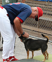St. Louis Cardinals roving pitching coach Brent Strom pets groundskeeper Don Rock's dog Haley before the first day of practice for the start of the NY-Penn League season at the Dwyer Stadium in Batavia, New York;  June 13, 2011.  Photo By Mike Janes/Four Seam Images