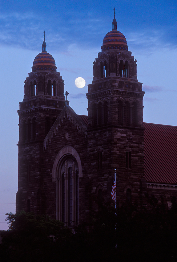 ST. PETER CATHEDRAL WITH FULL MOON IN MARQUETTE MICHIGAN.