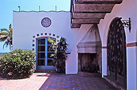 The Adamson House, designed by a well-known architect, Stiles Clements, was constructed beginning in 1929. Situated near the Malibu Pier between popular Surfrider Beach and the Malibu Lagoon, the house boasts an exotic mix of Spanish and Moorish influences.It is now the Malibu Lagoon Museum. Photo--July 1989.