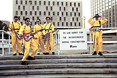 DEVO; 1978; Session<br /> Photo Credit: Janet Macoska/Atlas Icons