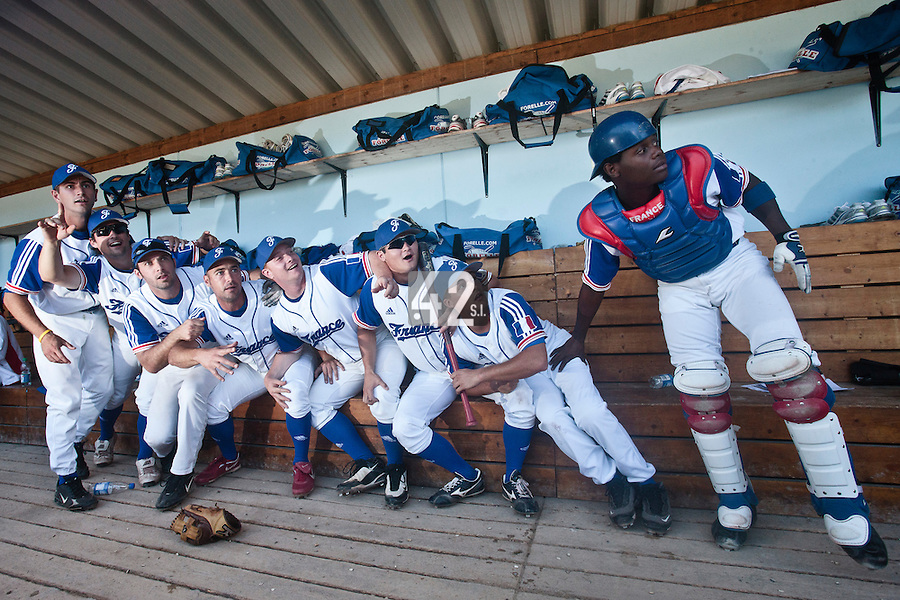 31 July 2010: Robin Allemand, Florian Peyrichou, Gaspard Fessy, Jerome Rousseau, David Gauthier, Kenji Hagiwara, Romain Scott-Martinez, Jean Antonio Samer are seen in the dugout prior to Greece 14-5 win over France, at the 2010 European Championship, in Heidenheim, Germany.