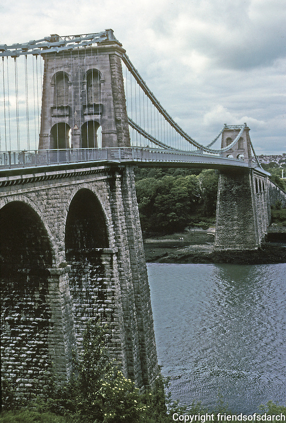 Technology: Thomas Telford Menai Road Bridge, 1818-1826. Main span, 550 feet. Photo '90. Between the island of Anglesey and the mainland of Wales. Opened 1826.