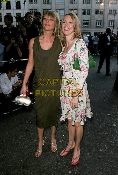 SARA COX & SISTER.Glamour magazine's 4th Annual Woman of the Year Awards, arrivals Berkley Square, London, England.. June 5th, 2007 .full length dress green silver gold bag purse grecian style white pink pattern wrap siblings family .CAP/AH.©Adam Houghton/Capital Pictures