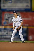 Trenton Thunder second baseman Hoy Jun Park (12) during an Eastern League game against the New Hampshire Fisher Cats on August 20, 2019 at Arm & Hammer Park in Trenton, New Jersey.  New Hampshire defeated Trenton 7-2.  (Mike Janes/Four Seam Images)