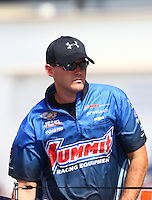 Sep 28, 2013; Madison, IL, USA; NHRA pro stock driver Buddy Perkinson during qualifying for the Midwest Nationals at Gateway Motorsports Park. Mandatory Credit: Mark J. Rebilas-